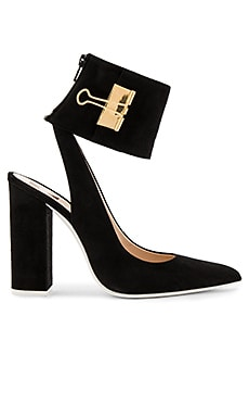 Pump Big Heel in Black & Gold