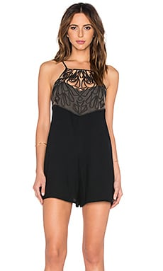 Romper with Embroidered Mesh Detail