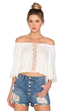 OH, BOY! Blusa Meio Renda Top in Off White
