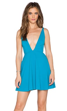 OH MY LOVE Plunge Skater Dress in Electric Blue Diamond