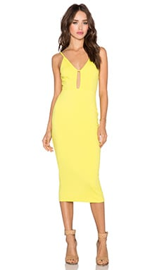 OH MY LOVE Keyhole Skater Dress in Sulphur