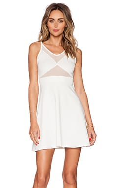OH MY LOVE Mesh Front Skater Dress in White