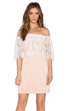 OH MY LOVE Grecian Mini Dress in Peach & White Lace