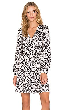 OH MY LOVE Fine Girl Leopard Wrap Dress in White & Black