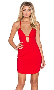 No Scrubs Plunge Neck Dress in Red