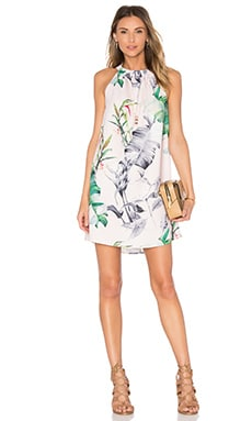 OH MY LOVE Pu Strap Dress in Canary Plant