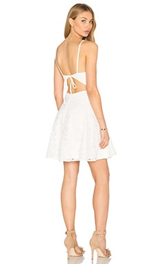 Lace Plunge Skater Dress in White
