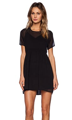 OH MY LOVE Sheer Mini Dress in Black