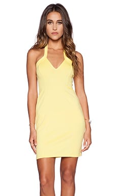 OH MY LOVE Halter Bodycon Dress in Yellow
