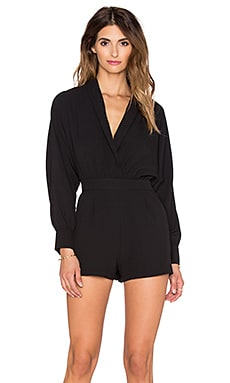 OH MY LOVE Plunge Up Romper in Black