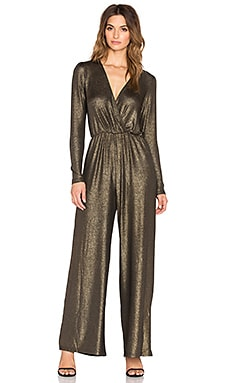 OH MY LOVE Jump Around Metallic Jumpsuit in Gold