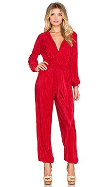 OH MY LOVE Stay Another Day Pleated Jumpsuit in Red
