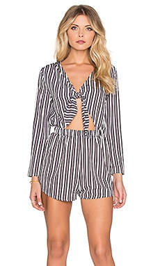 OH MY LOVE Tie Front Romper in Grey Stripe