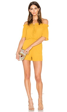 Off Shoulder Tie Romper in Mustard