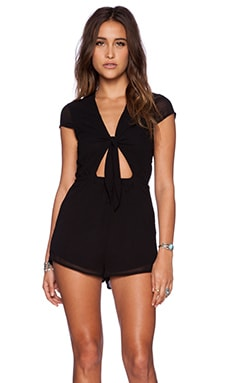 OH MY LOVE Tie Front Playsuit in Black