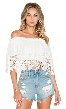 OH MY LOVE Off The Shoulder Blouse in White Crochet