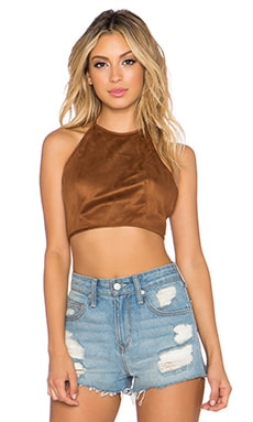 OH MY LOVE Suede It Up Crop Top in Camel