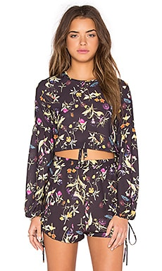 OH MY LOVE Tie Front Crop Top in Midnight Botanical