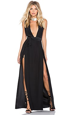 Double Slit Maxi Dress in Black