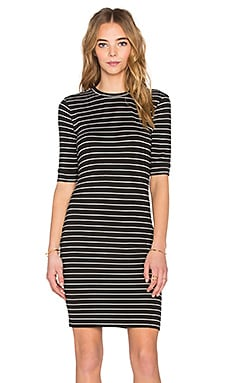 ST by OLCAY GULSEN Striped Dress in Black & Off White