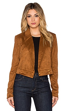 ST by OLCAY GULSEN Faux Suede Jacket in Cognac