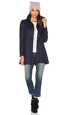 A Line High Neck Coat in Indigo