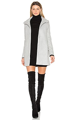A Line High Neck Coat in Grey Melange