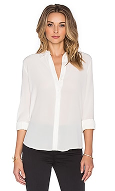 Button Down Silk Shirt in Off White