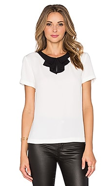 ST by OLCAY GULSEN Bow Blouse in Off White & Black Tie