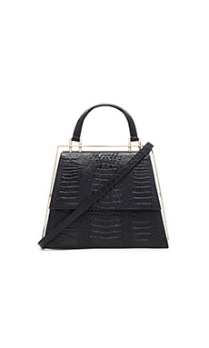 ST by OLCAY GULSEN Medium Frame Bag in Black Croc