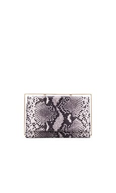 Frame Clutch in Black & White Snake