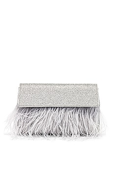 Mia Glitter Feather Trim Shoulder Bag olga berg $79