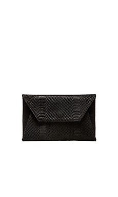 Oliveve Leo Envelope Clutch in Black Snake