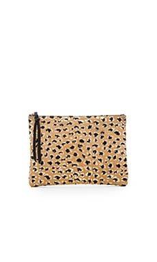 Oliveve Queenie Clutch in Gold Leopard