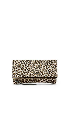 Oliveve Anastasia Unlined Clutch in White Leopard
