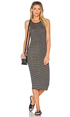 Sweetheart Midi Dress in Black Stripe
