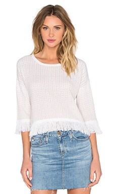 One Grey Day Everyly Fringe Sweater in White Combo