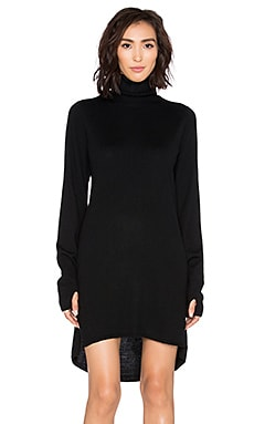 One Teaspoon Superior Merino Turtleneck Dress in Jet Black