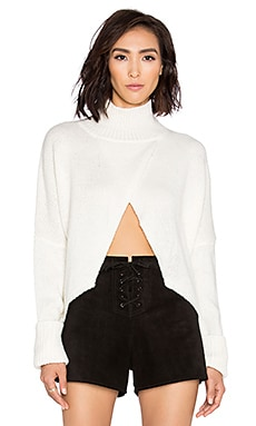 One Teaspoon The First Class High Neck Sweater in Blanc