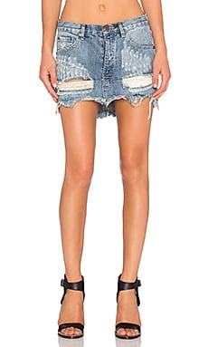 One Teaspoon Junkyard Mini Skirt in Husk