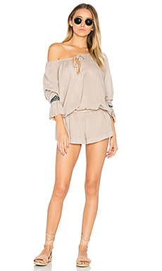 The Rose Hill Muslin Romper in Champagne