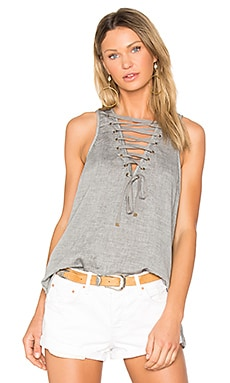 The Dirty Work Lace Up Tank in Pepper