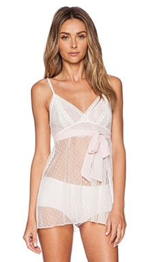 Only Hearts Coucou Chemise Night Slip in Creme & Pink