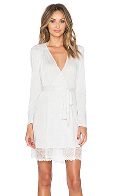 Only Hearts Short Robe with Lace Hem in Opal Heather
