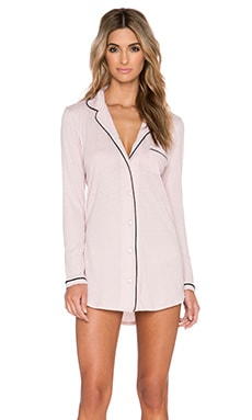 Only Hearts Piped Button Front Night Shirt in Bone & Black
