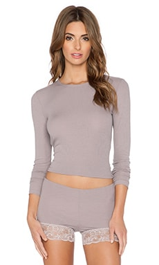 Only Hearts Feather Weight Rib Crew Neck Long Sleeve in Grey Pearl