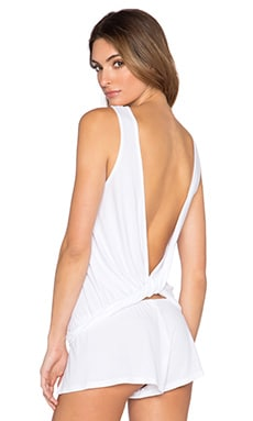 Only Hearts Feather Weight Rib Open Back Tank in White