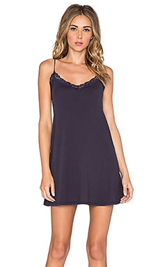 Only Hearts Organic Cotton Lace Trimmed Chemise in Navy