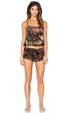 Only Hearts Salli Rose Cami & Hipster PJ Set in Floral Velvet Burnout