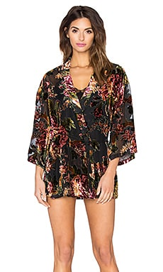 Only Hearts Salli Rose Kimono in Floral Velvet Burnout